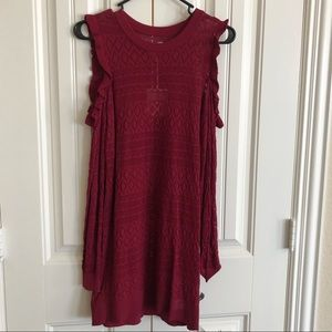 Holiday cold shoulder tunic